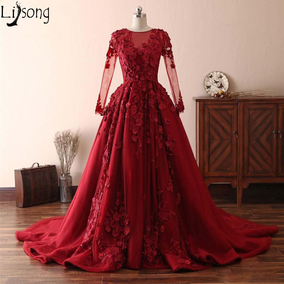 Amazing Red 3D Floral Flowers Long Prom Dresses Illusion Long Sleeves Evening Party Gowns Ruched Tulle Applique Formal Dress