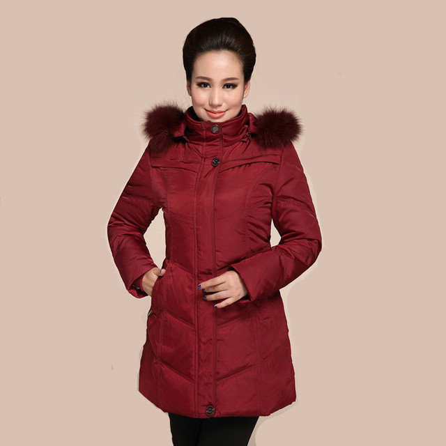 XL ~ 6XL Mulheres longo Md-Pato Com Capuz Para Baixo Casaco de Inverno 2015 New Arrival Faux Fur Collar Parkas Quentes engrossar Casaco Jaqueta ZL3477