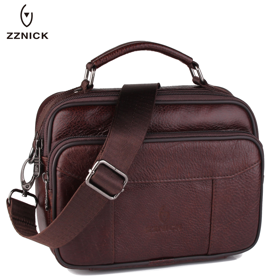 ZZNICK 2017 Genuine Leather Bag Men Crossbody Bags fashion Men's Messenger Leather Shoulder Bags Handbags Small Travel Male Bag women shoulder bags leather handbags shell crossbody bag brand design small single messenger bolsa tote sweet fashion style