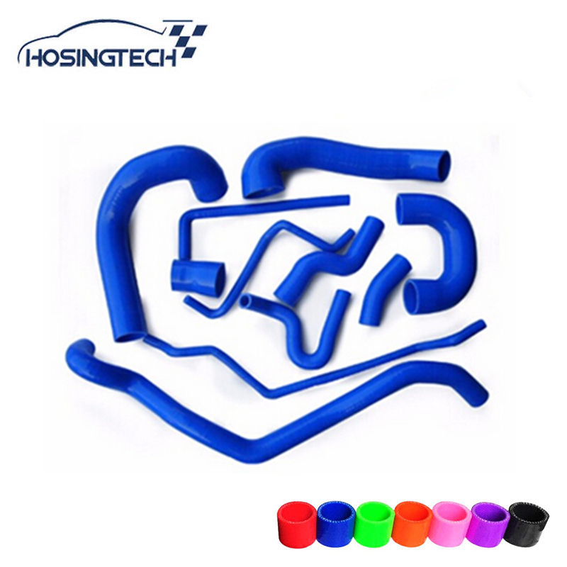 HOSINGTECH- for SAAB 9-3 2.0T 2002-2007 blue 11pcs 3ply silicone radiator hose kit for honda cb400 nc23e vtec i ii iii silicone radiator hose kit1998 2007 blue 5pieces colors red blue black