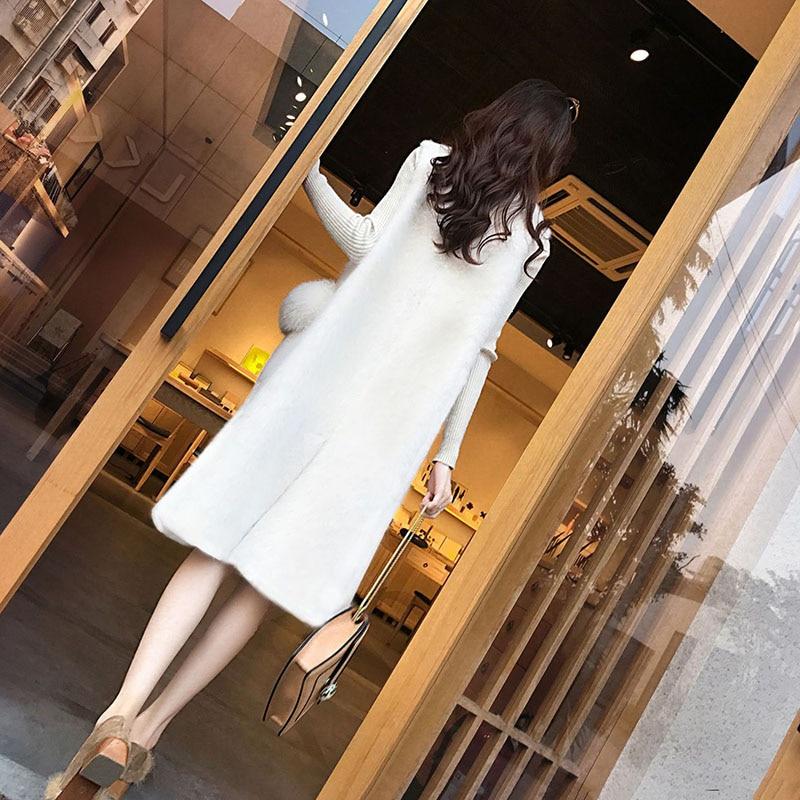 De Manteau white Mode D'hiver Haute Laine Qualité Femmes Gilet Black Longue Lâche Section Veste Automne AEFwPpn6qp