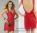 Latest Dress Designs Red Lace Cocktail Dress 2015 Short Party Dresses Backless Beaded Above Knee Vestidos de Festas Curto