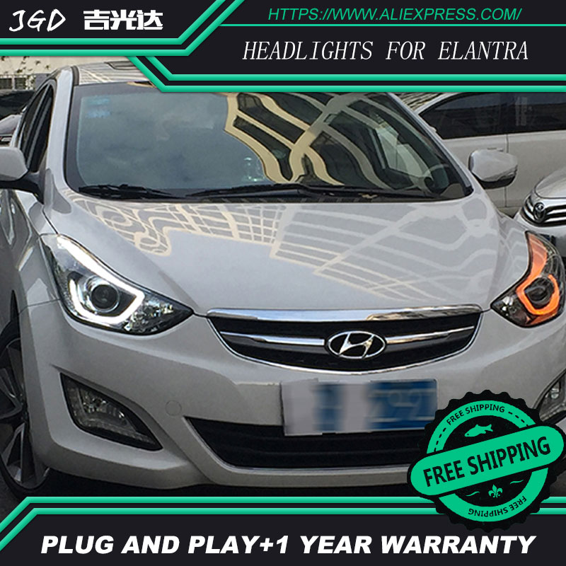 Car Styling for Hyundai Elantra Headlights 2012-2016 LED Headlight DRL Bi Xenon Lens High Low Beam Parking Fog Lamp akd car styling for 2012 2016 hyundai elantra headlights md led headlight drl q5 bi xenon lens high low beam parking fog lamp