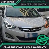 Car Styling For Hyundai Elantra Headlights 2012 2016 LED Headlight DRL Bi Xenon Lens High Low