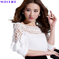 SORCHIDF Women Blouses 2016 Fashion Summer Top Solid Long Sleeve Clothes Blusas Casual Female Trendy Clothing New Chiffon Blouse