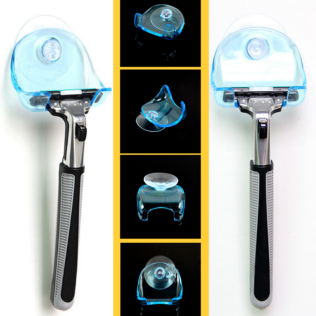 1pcs Plastic Super Suction Cup Razor Rack Clear Blue Bathroom Razor Holder Suction Cup Shaver Storage Rack