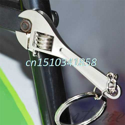 P80 Hot 2 pcs Kreatif Mini Logam Adjustable Alat Wrench Spanner Gantungan kunci Cincin Keyring Hadiah # Y51 #