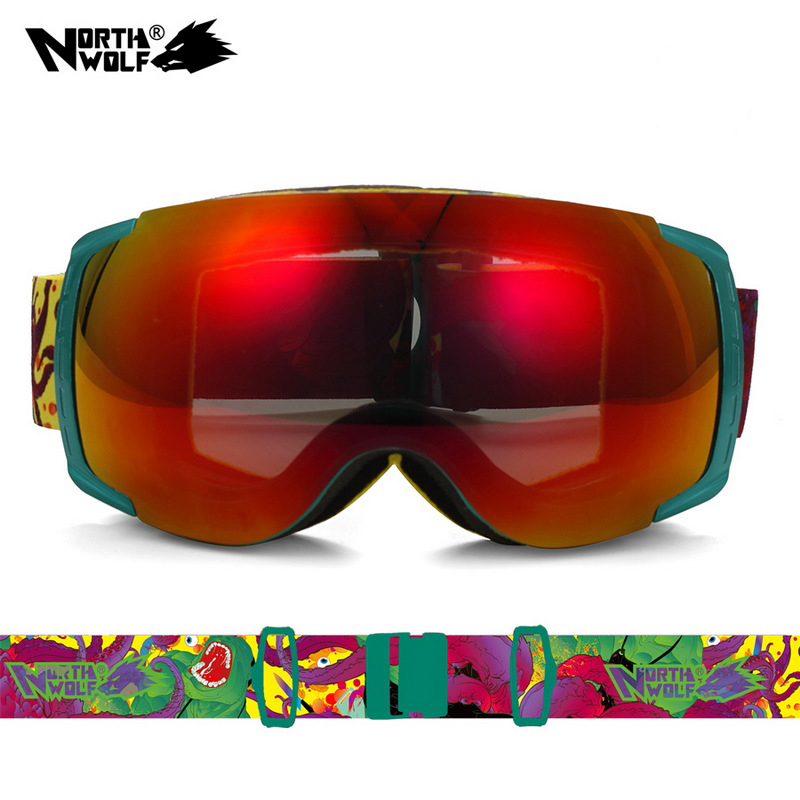 2017 New  North Wolf 858 brand Professional Best Ski Goggles Men and Women Double lens antifog UV 400 Snowboard Goggles new lone wolf and cub v 7