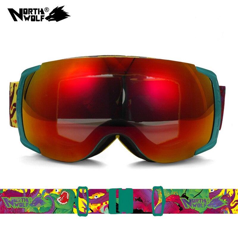 2017 nouveau North Wolf 858 marque professionnelle meilleures lunettes de Ski hommes et femmes Double lentille anti-buée UV 400 lunettes de Snowboard