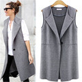 Female Vest Single Button Brief Women's Vests Sleeveless Coats Female Spring Waistcoat Turn-Down Collar Casual Vest
