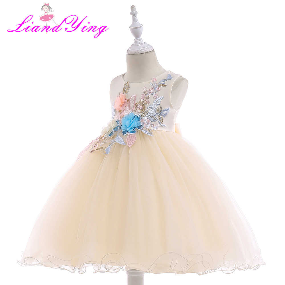 c942405c88462 Girls Dress Leaves Appliques Flower Frock Formal Baby Wedding Dresses Fancy  Children Gown Kids Evening Party Clothes for Girl