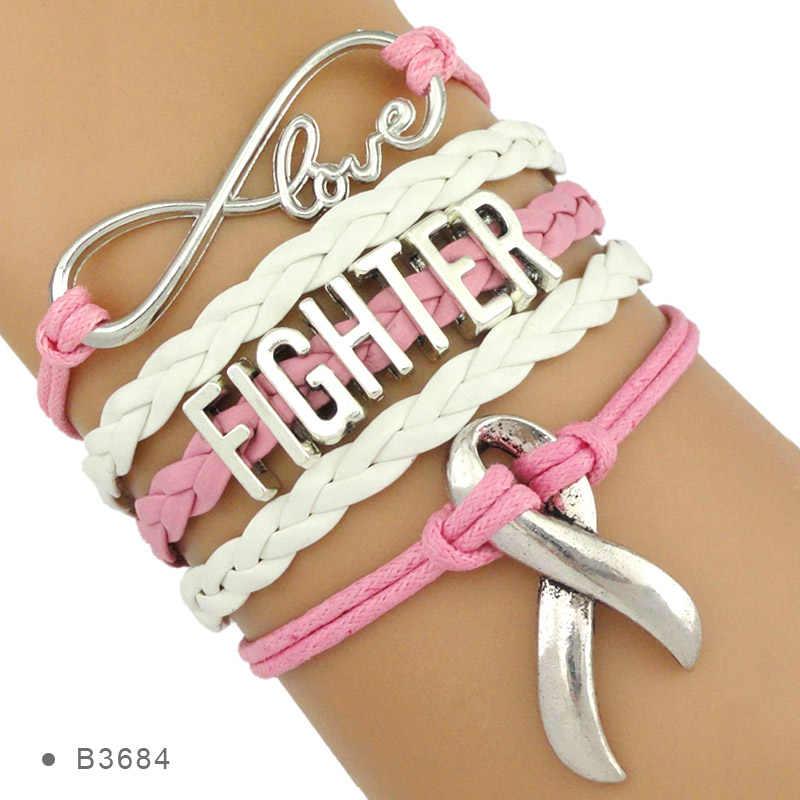 Love Faith Believe ความหวังริบบิ้น PRAY สำหรับเต้านมมะเร็ง Sucks Awareness Fighter Survivor ห่อหนังสีชมพูสำหรับผู้หญิง