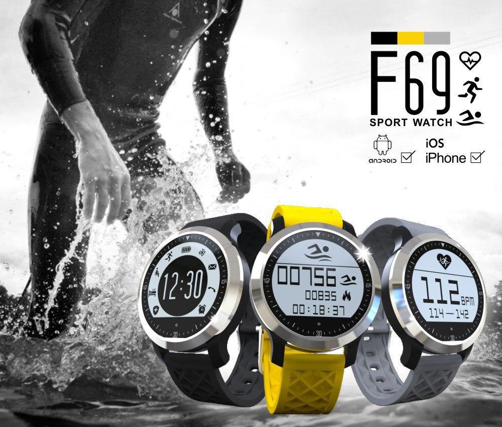 imágenes para Deporte Natación Impermeable Bluetooth Smartwatch F69 Pulsómetro Relojes Inteligentes Para Apple iPhone Android Reloj Monitor de Ritmo Cardíaco