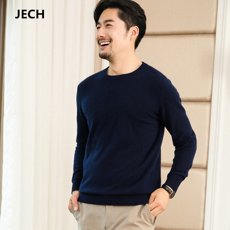 JECH Cashmere O Neck Men Big Sweaters 2018 Winter Wool Warm Fashion Solid Pullovers Autumn New Knitted Sweaters Plus Size Male