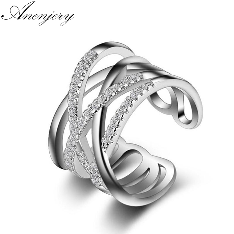 Anenjery Korean Style 925 Sterling Silver Opening Rings Multi-layer Line Cross Mosaic Zircon Rings For Women Jewelry S-R243 anelli per dito medio