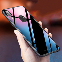 For Huawei Honor Play Case Luxury Glossy Tempered Glass Soft Silicone Frame Shockproof Hard Cover For Honor Play 3 Phone Case