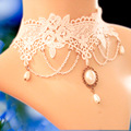 Statement necklaces gothic jewelry vintage white lace necklaces & pendants false collar women accessories choker necklace