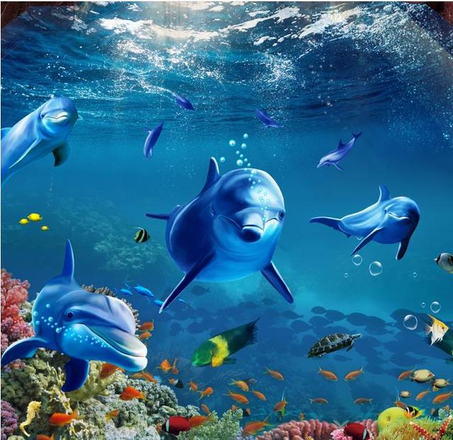 3D Flooring Adhesive Wall Paper Dolphin 3D Wallpapers For