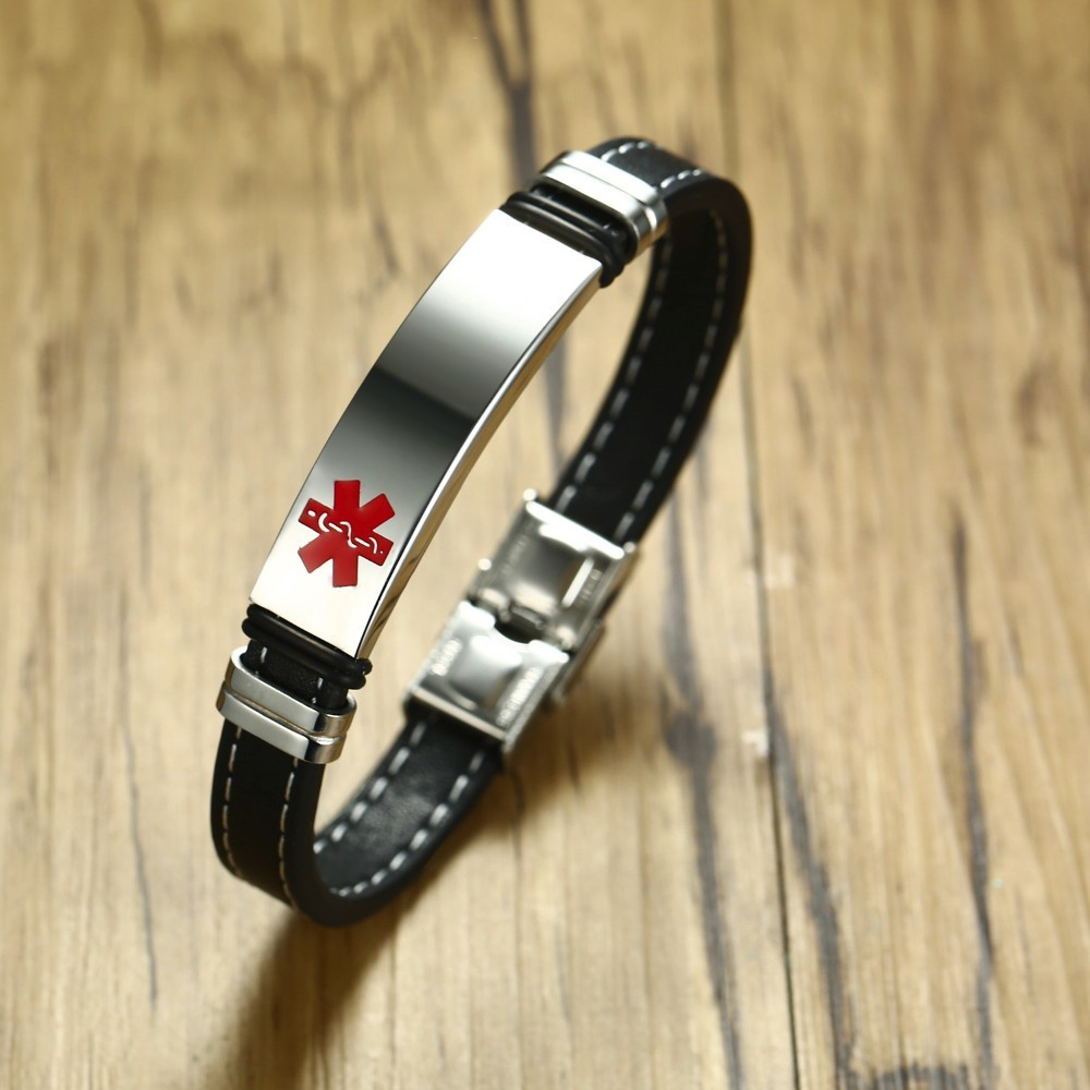 DIABETES EPILEPSY ALLERGY COPD ALLERGY WARFARIN ASTHMA PACEMAKER HYPOGLYCEMIA Black Leather Medical ID Bracelet airborne pollen allergy