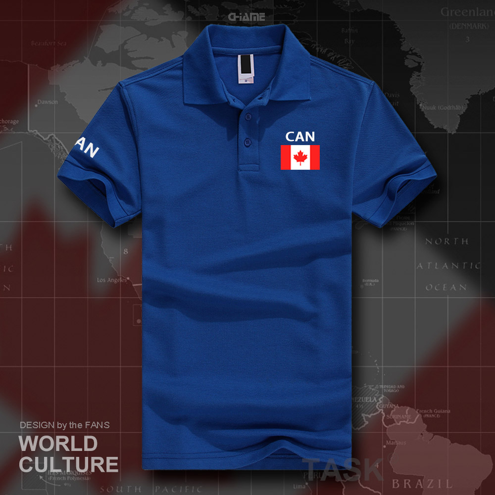Canada Canadians   polo   shirts men short sleeve white brands printed for country 2017 cotton nation team flag new fashion CA CAN