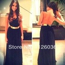 Sexy Schwarz V-ausschnitt Zurück Sheer Applique Top Chiffon Gold gürtel Maxi Kleid Chiffon-Formales Abendkleid Mädchen Kleid benutzerdefinierte