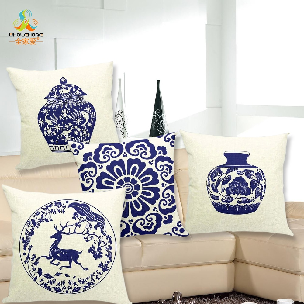 4343cm Blue And White Porcelain Cushions Linen Cushion Cover Chinese Styel Pillow For Living