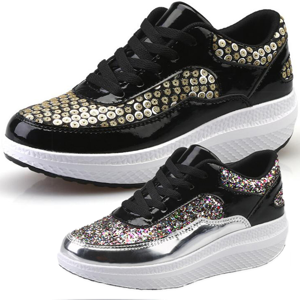 2018 new Bling sequins Platform shoes Women glitter golden Waterproof Flat Shoes Spring fashion Lace Up Casual shaking Shoes