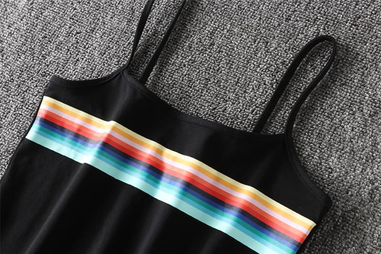 HTB1U2rzRXXXXXbvXFXXq6xXFXXXQ - Women Tank Offset Printing Rainbow Stripes Cropped PTC 84