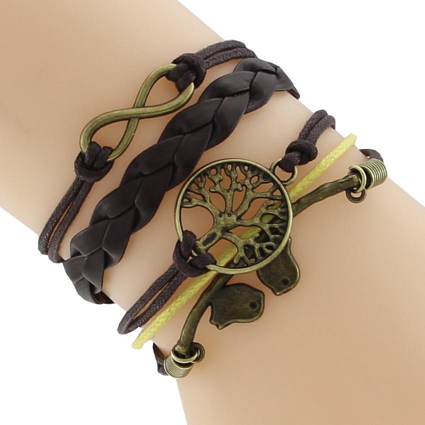 Bracelet en cuir Arbre de vie et infini