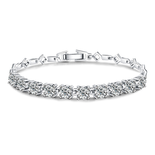 Fashion Round Cut White CZ 925 Sterling Silver Tennis Bracelet