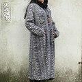 2015 Новый осень зима ретро лягушка чистого хлопка пальто народном стиле флокирование длинное пальто халат galabia