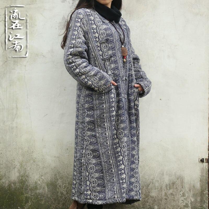 2017 New autumn winter retro frog pure cotton coat folk style flocking long coat robe gown galabia