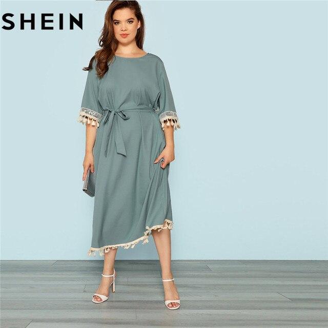 1e90a2c1777 SHEIN Blue Plus Size Half Sleeve Tassel Trim Elegant Belted Women Straight  Dress 2018 New Casual Office Lady Fringe Hem Dresses