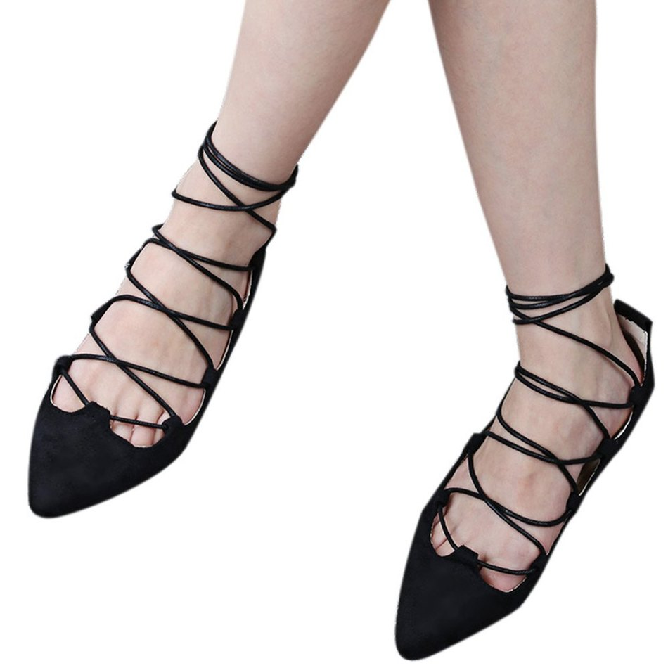 Mujeres de La Manera Zapatos de Los Planos Del Ballet Casual Punta estrecha Holl