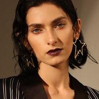 Enfashion Jewelry Geometric Big Star Earrings Gold Color Stainless Steel Long Drop Earrings For Women Earings