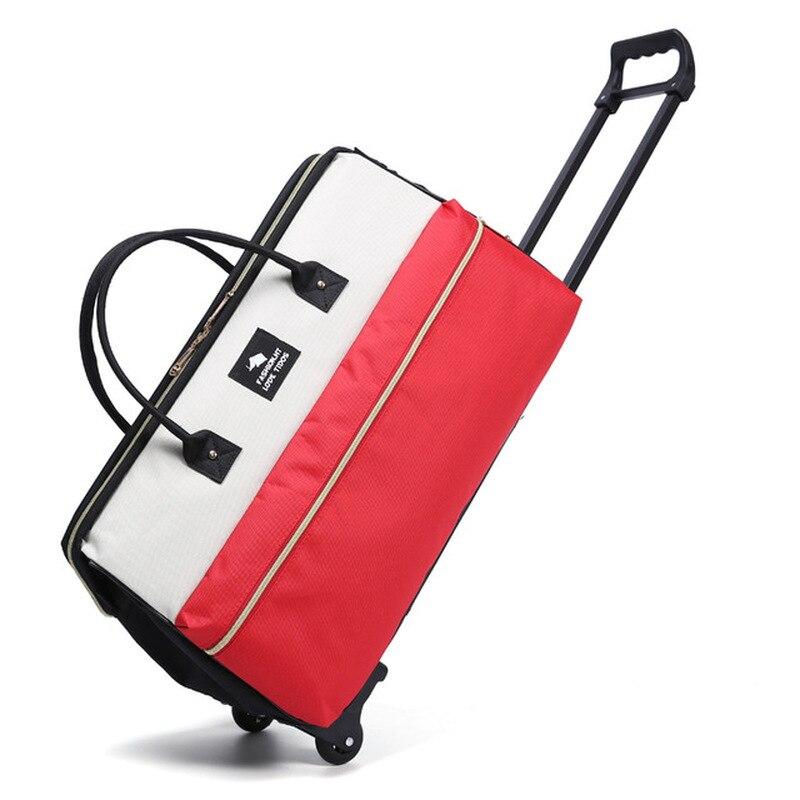 AMLETG New Hot Fashion Women's Luggage Cart Trolley Luggage Leisure Roll Folding Luggage Bag Travel Bag Wheel Suitcase
