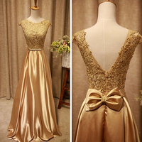 2017 New Long Evening Dress For Women Golden Elegant Formal Gown Backless Fashion Design Floor Length