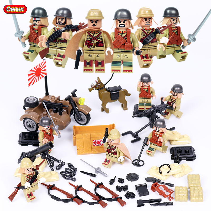 Oenux Newest 6PCS WW2 Military Chinese VS Japanese Army Building Brick Set World War 2 Taierzhang Battle Model Block Toy For Kid 4pcs lot world war ii troops military german collector s edition kid baby toy figure building blocks set model minifigures brick