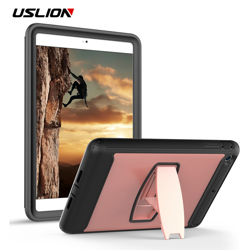 USLION 2 IN 1 Shockproof Armor Case For Apple iPad mini 1 2 3 Sleep Wake Up Stand Holder Cover Silicone + PC Protective Cases alabasta for apple ipad mini 1 2 3 case hand strap 360 degree rotation armor 7 9 inch kickstand pc silicone shockproof pen