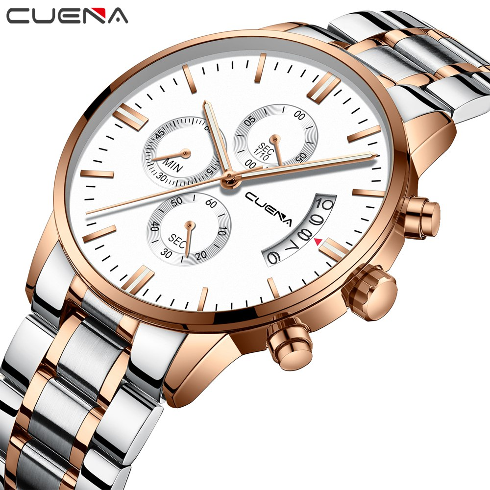 CUENA Luxury Casual Men Watches Analog Military Chronograph Sports Clock Quartz Male Wristwatches Relogio Masculino Montre Homme