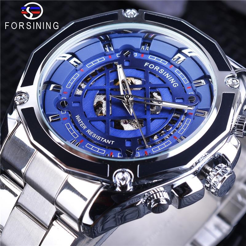 New Forsining Mens Fashion Leisure Blue Hollow Waterproof Automatic Mechanical WatchNew Forsining Mens Fashion Leisure Blue Hollow Waterproof Automatic Mechanical Watch