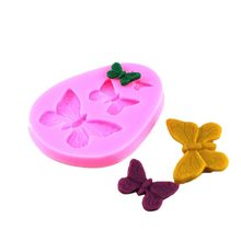 50PCS Silicone Fondant Mold 3D Butterfly Cake 3 Cavities Baking Decorating Tools For Candy Chocolate