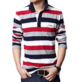 Men Strip Shirt Turn-down Collar Casual Cotton Tees Tops Plus size 4XL 5XL Summer Letters Embroidered Long Sleeve Shirts