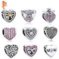 Pure 925 Sterling Silver Love Hearts European Crystal Charms Beads Fit Pandora Bracelet Necklace Pendant DIY Original Jewelry