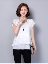 New arrive Women fashion summer chiffon Blouses & Shirts short sleeve large size loose ruffles solid casual shirts tops