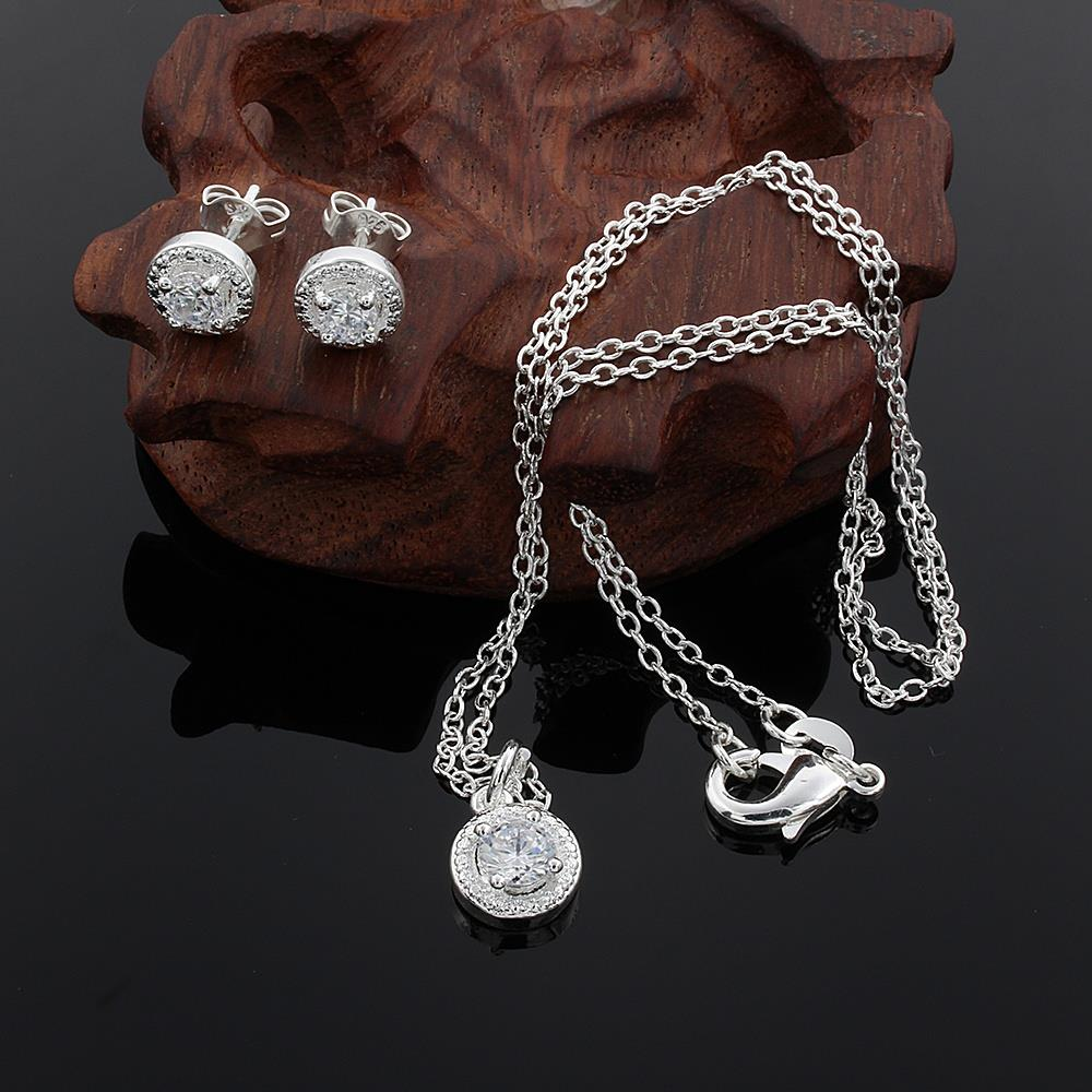 new promotion Lover gifts cute silver plated fashion noble women shiny crystal CZ necklace earring jewelry set free shipping