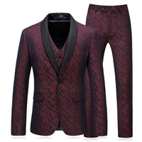 Contrast Black Collar Suit Slim Fit Men Suits For Wedding Smoking Homme Mariage Terno Masculino Slim Fit Wine Red Oversize 5xl