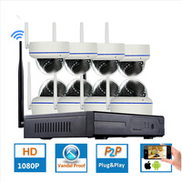8CH 1 3MP Plug And Play Wireless NVR Kit P2P 960P HD Outdoor Vandalproof IR NightVision