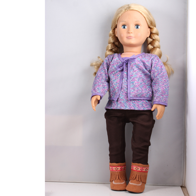 "Fahion Purple Vest Coat Set +Black Pants + Brown Boots American Girl Doll Clothes Set Fit 18 "" American Girl Doll  AG634"