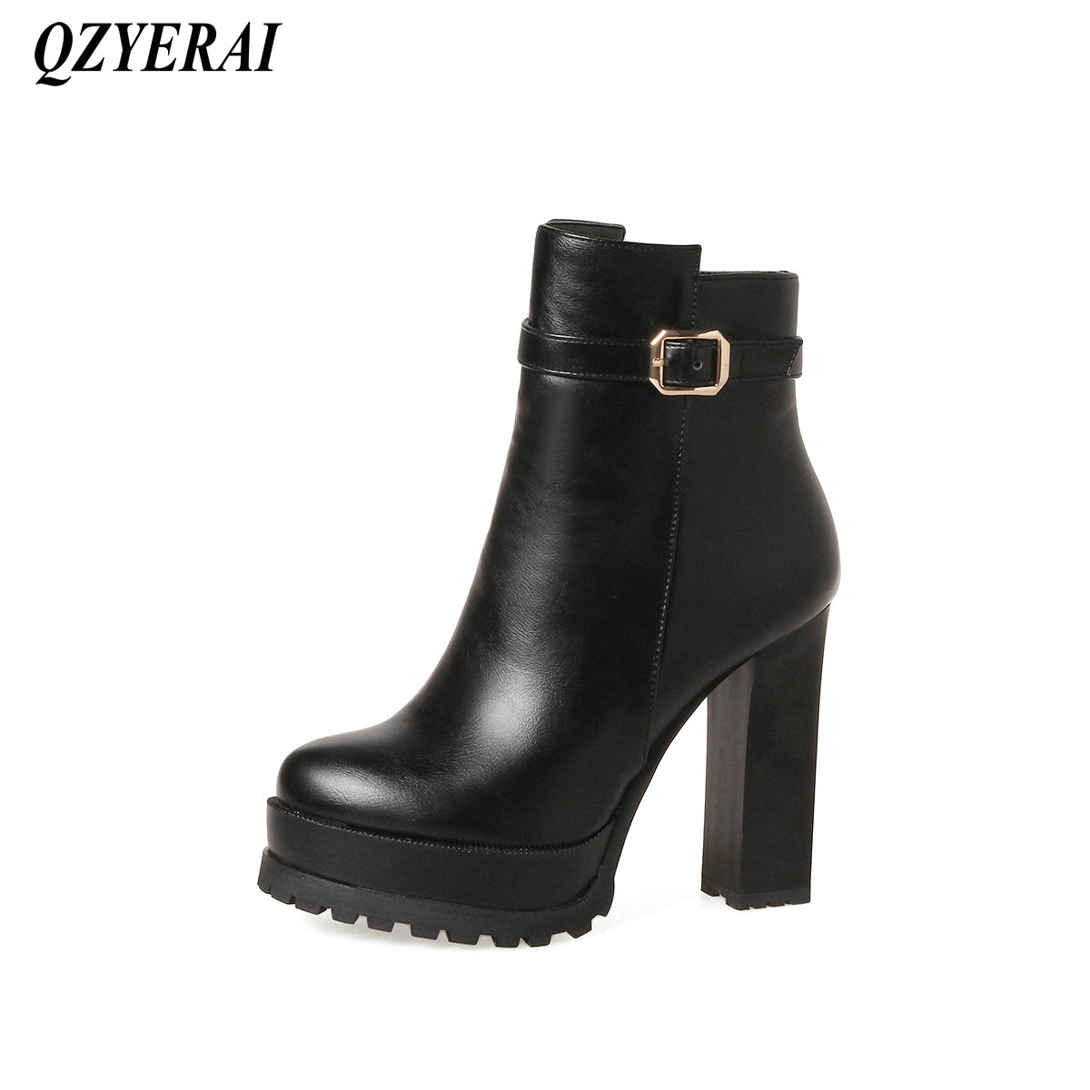 цены QZYERAI Winter fashionable lady short boots patent leather womens shoes womens boots